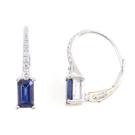 LILY BLUE EMERALD CUT EARRINGS-B13984
