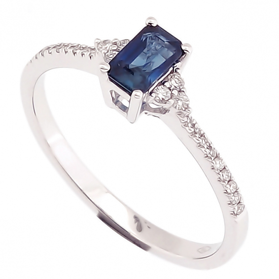 LILY BLUE EMERALD CUT RING-B13985