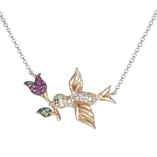 Bird Necklace with Real Diamond and Ruby - B13986