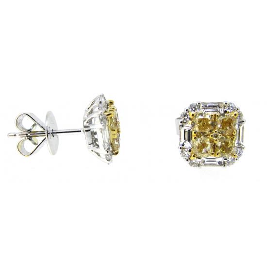 Fancy yellow Diamond studs