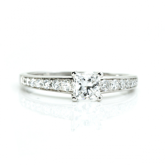Princess Cut Stone Engagement Ring with Accents