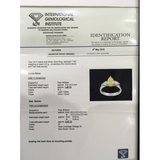 PEAR FANCY YELLOW RING-B15348