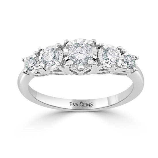 Five-stone round cut engagement ring