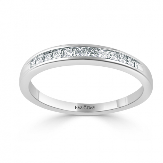 Round Cut Channel Style Wedding Band