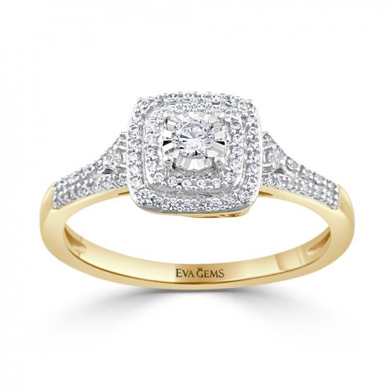 Round cut cushion shape diamond ring.