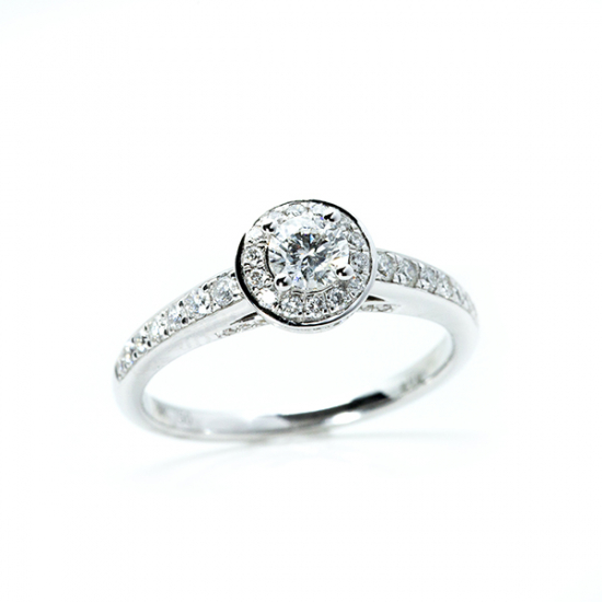 Round Cut Split Shank Halo Engagement Ring