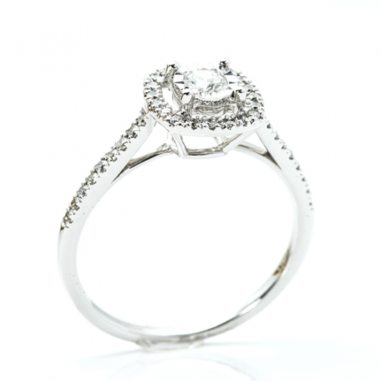 Cushion Cut Scalloped Halo Engagement Ring