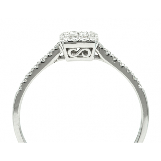 Classic ring with Baguette and Round diamond  B19605