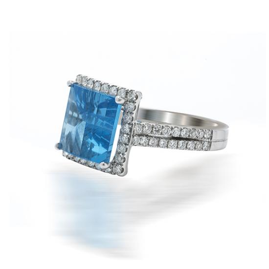 Princess cut blue topaz diamond halo ring