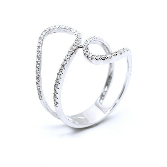 Unique Weave White Diamond Ring