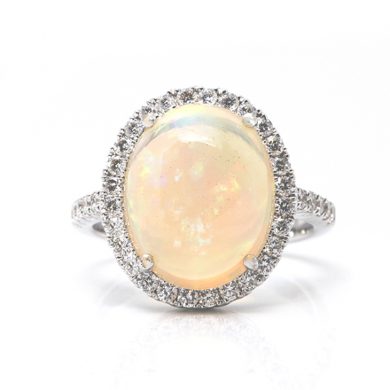 Opal Single line Diamond Ring