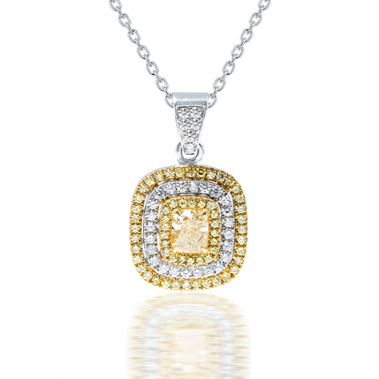 Fancy intense yellow diamond pendant