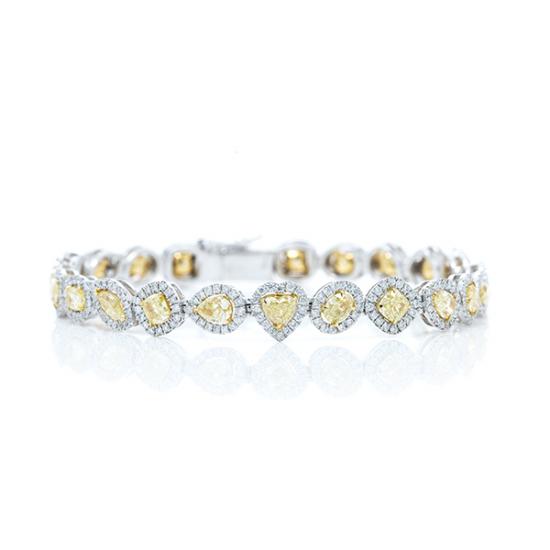 Multi color Fancy yellow diamond halo setting bracelet