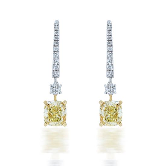 FANCY CUSHION DIAMOND DANGLE EARRINGS