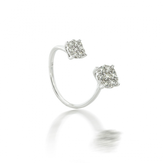 Round Brilliant Open Cluster Diamond Ring