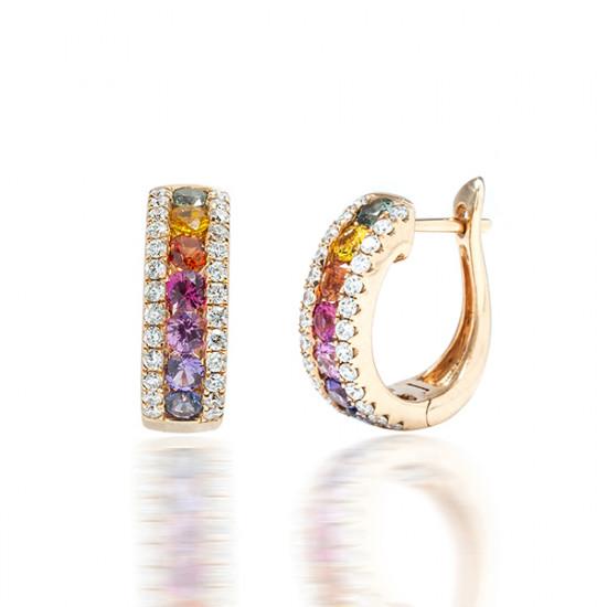 Fancy Sapphire Diamond Hoop Earring
