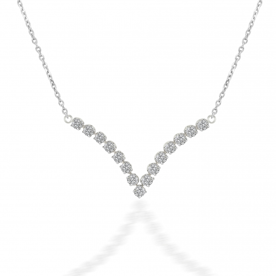 Curved shape cluster set diamond necklace