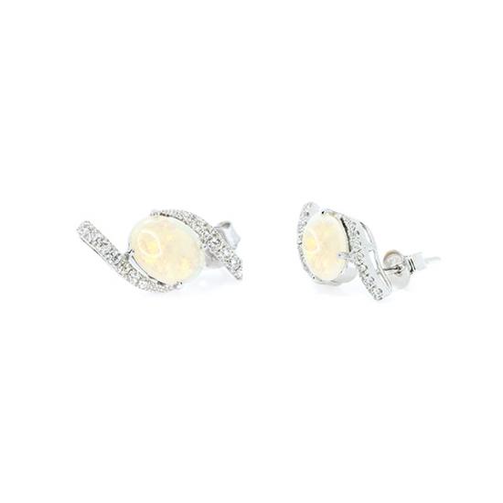 Opal and Micropave diamond stud earring