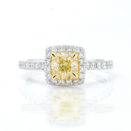 1.54Cts cushion cut fancy yellow halo engagement ring