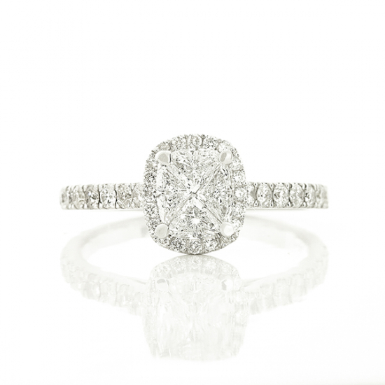 Oval shape invisible setting diamond ring