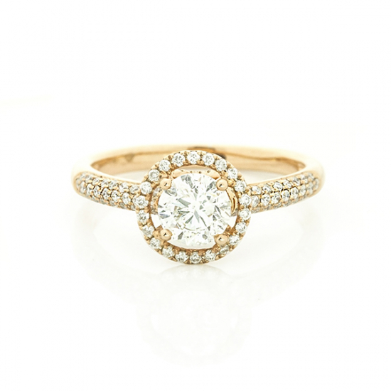 Round cut pave setting halo Engagement ring.