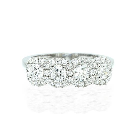 Round brilliant four stone halo diamond ring