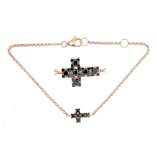 Black Diamond Cross Bracelet