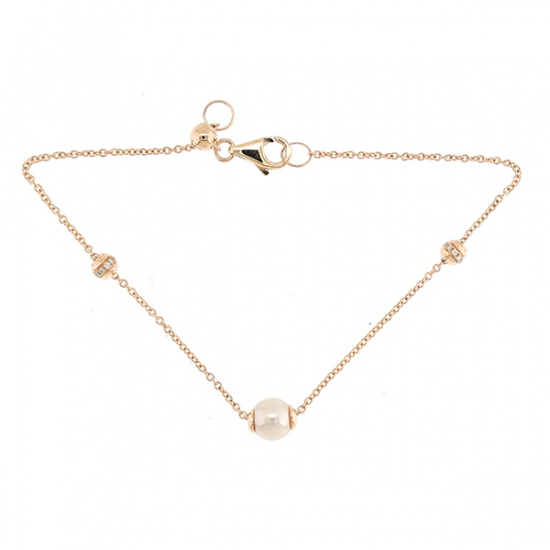 Pink pearl diamond bracelet