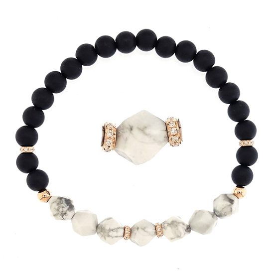 Hawlite Stone with diamond bracelet