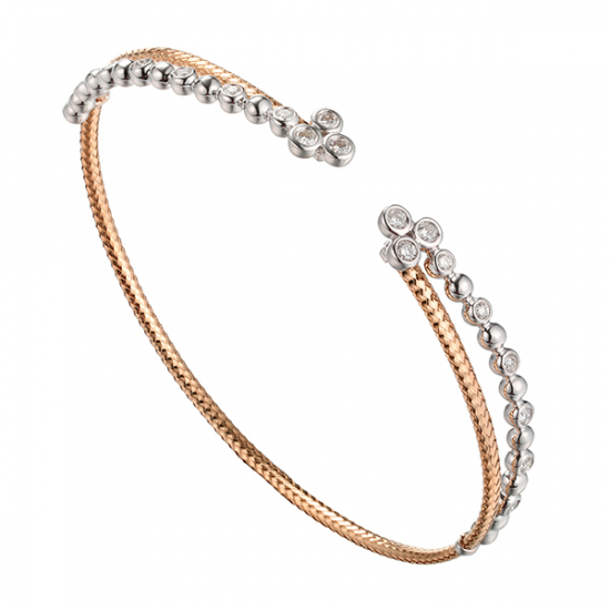 Elegant Two Tone Diamond Bangle