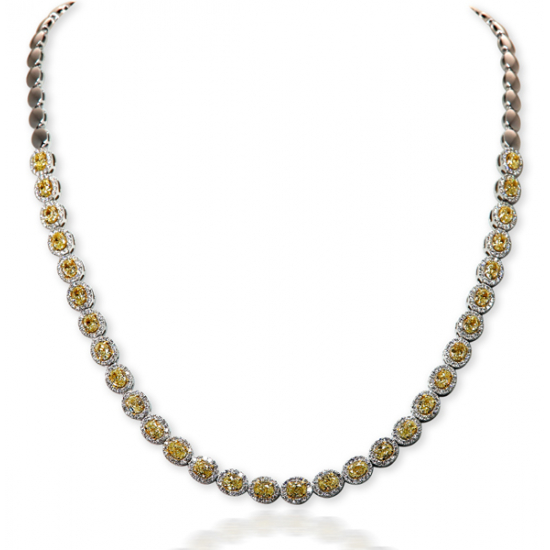 Oval Vivid Yellow Diamond Necklace