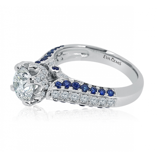 Crown engagement ring with sapphires