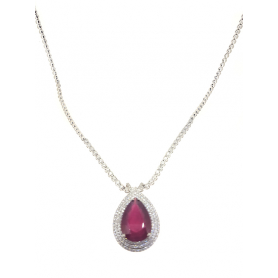 Diamond Necklace with Ruby