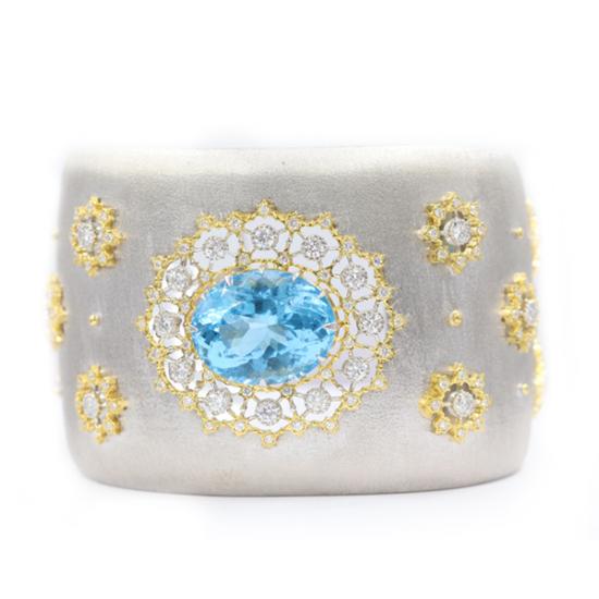 Bespoke Diamond and Topaz Bangle